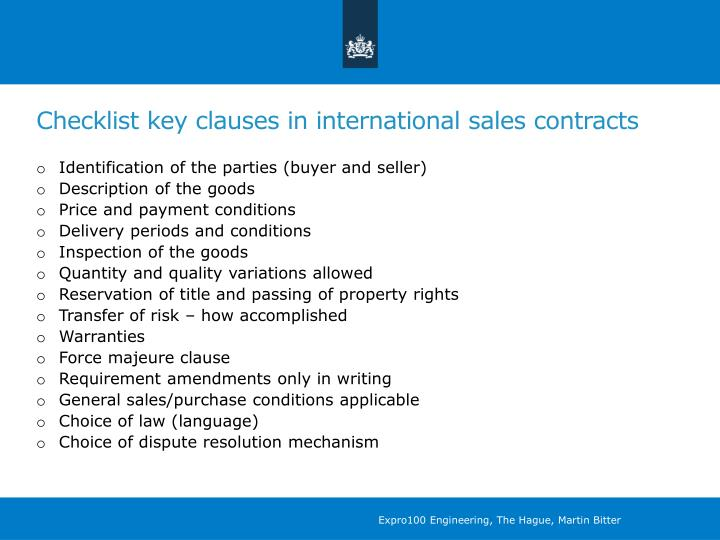 Checklist key clauses in international sales contracts