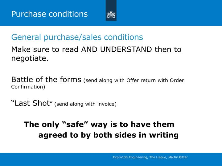 Purchase conditions