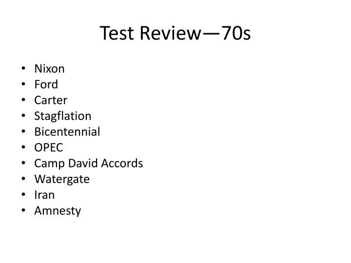 Test Review—70s