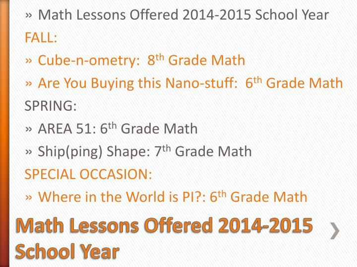math lessons offered 2014 2015 school year