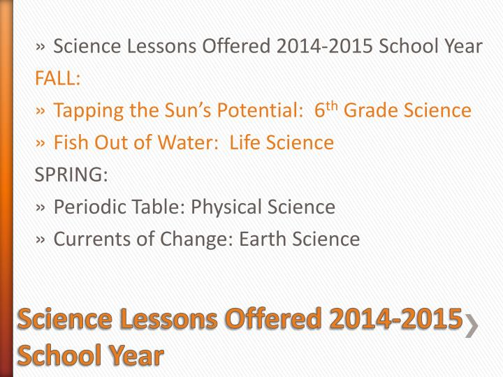 Science Lessons Offered 2014-2015 School Year