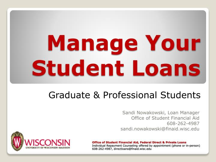 Manage your student loans