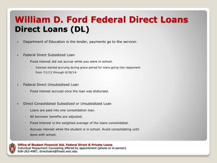 Department of Education is the lender, payments go to the servicer.