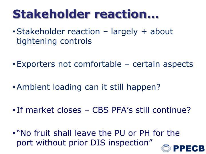 Stakeholder reaction