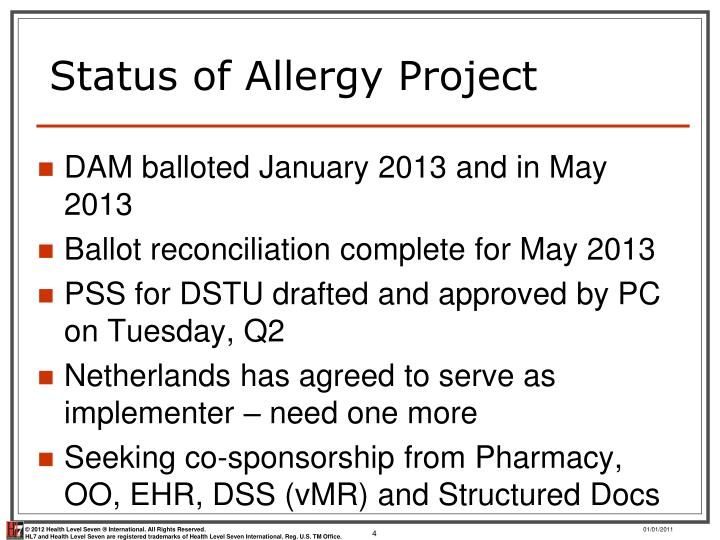 Status of Allergy Project