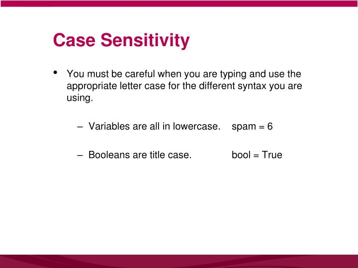 Case Sensitivity