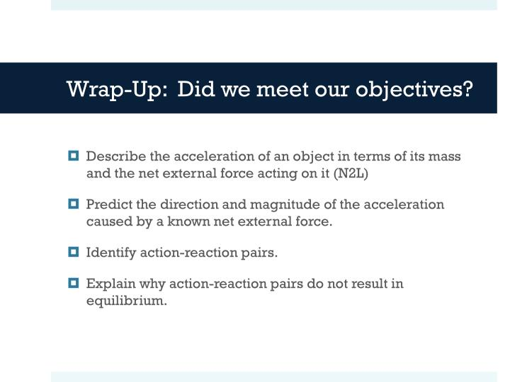 Wrap-Up:  Did we meet our objectives?
