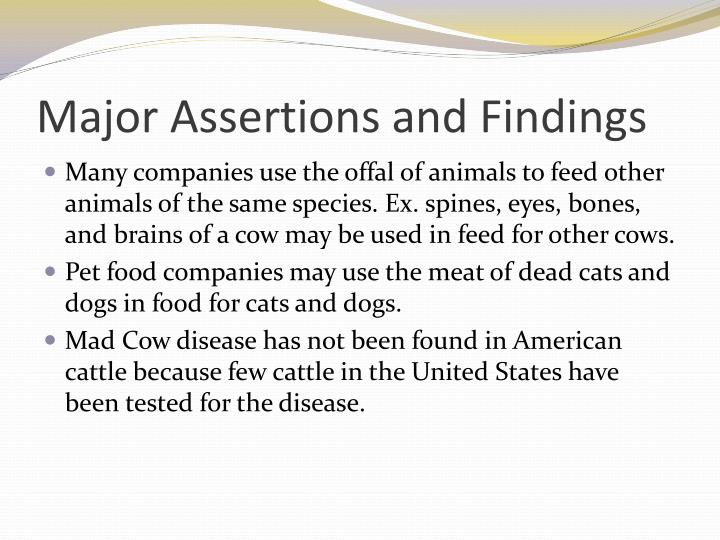 Major Assertions and Findings