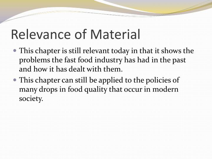 Relevance of Material