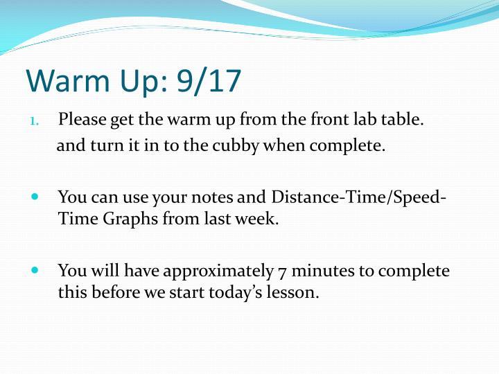 Warm Up: 9/17