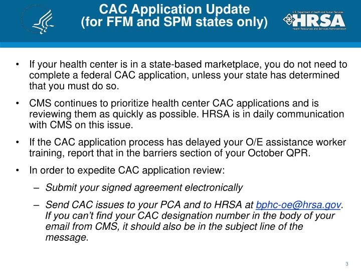 CAC Application Update