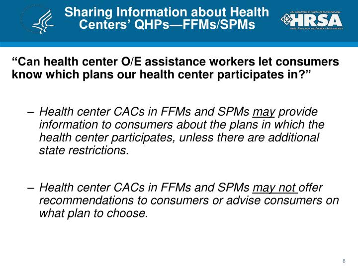 Sharing Information about Health Centers' QHPs—FFMs/SPMs