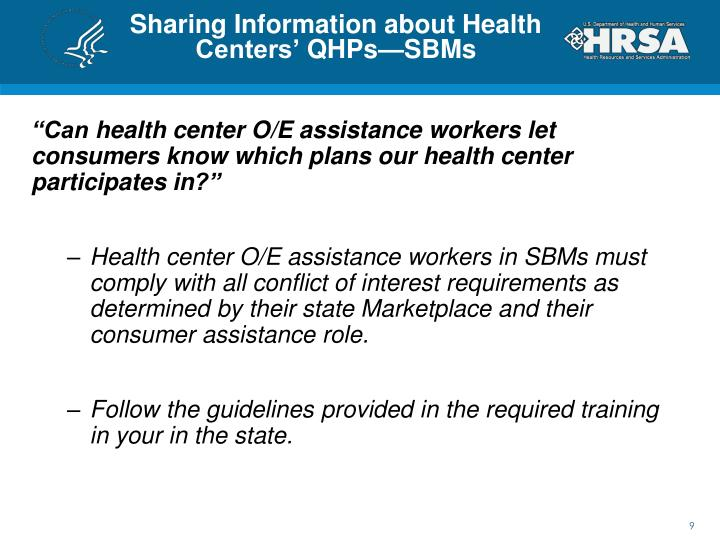Sharing Information about Health Centers'