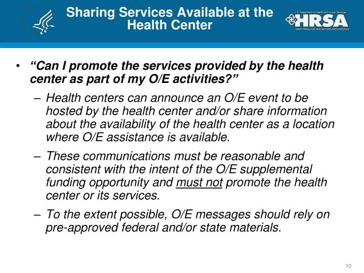 Sharing Services Available at the Health