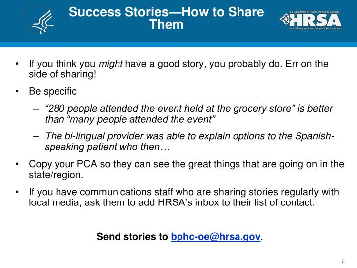Success Stories—How to Share Them