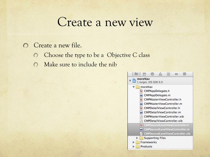 Create a new view