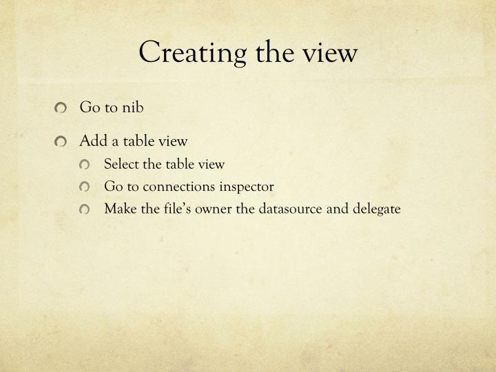 Creating the view
