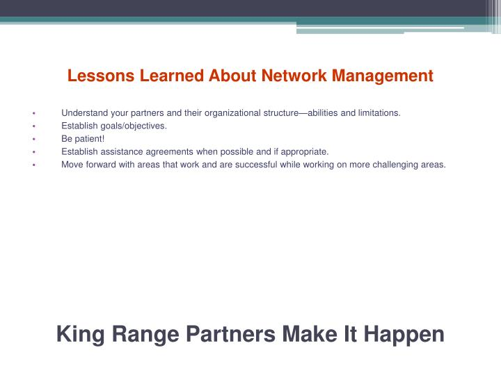 Lessons Learned About Network Management