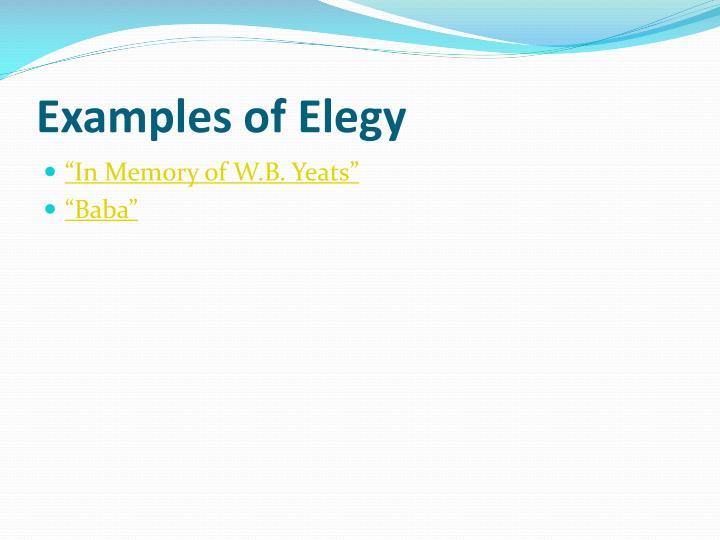Examples of Elegy