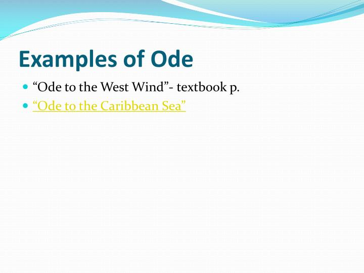 Examples of Ode