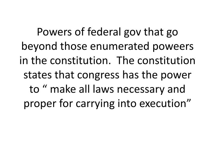 Powers of federal