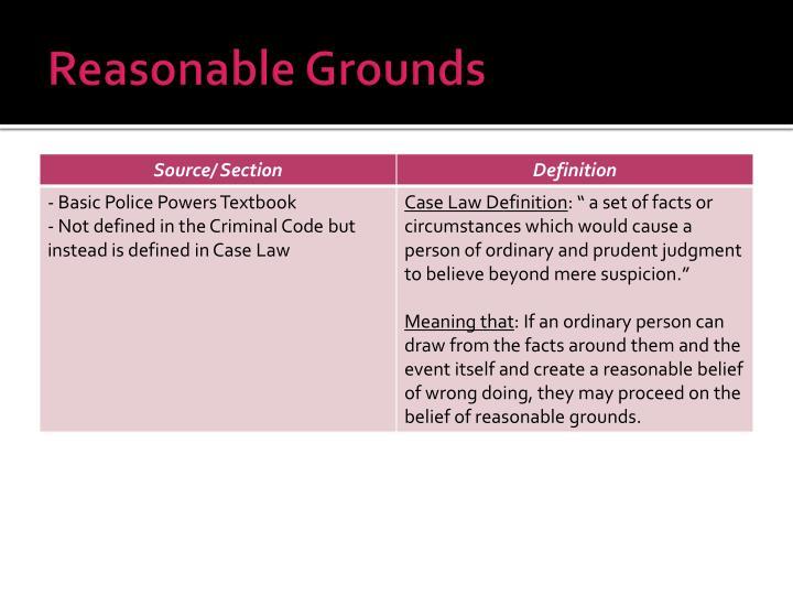 Reasonable Grounds