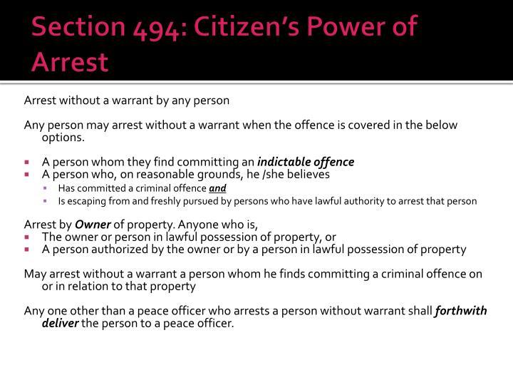 Section 494: Citizen's Power of Arrest