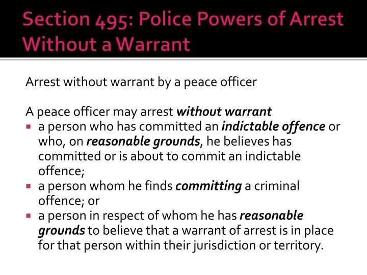Section 495: Police Powers of Arrest Without a Warrant
