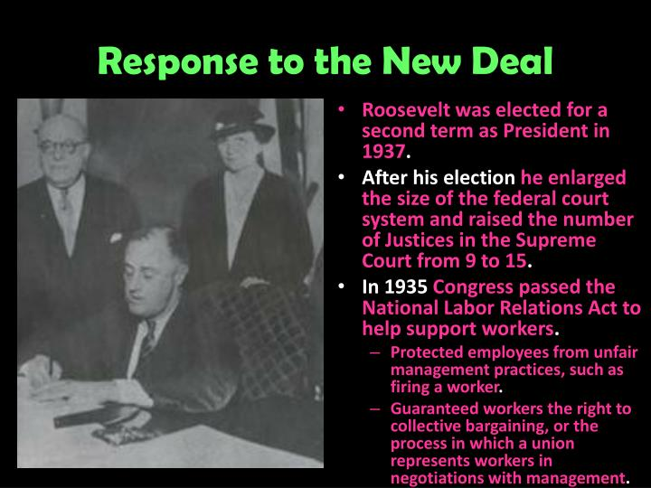 Response to the New Deal