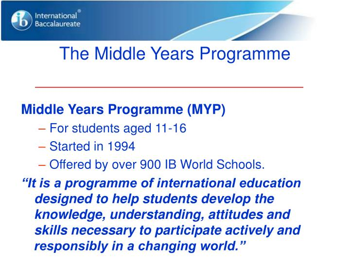 The Middle Years Programme
