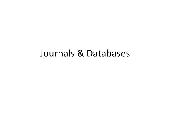 Journals databases