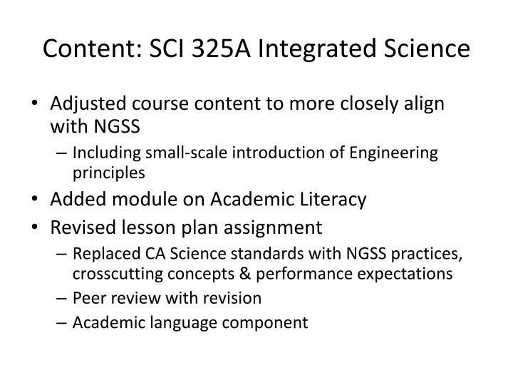 Content: SCI 325A Integrated Science