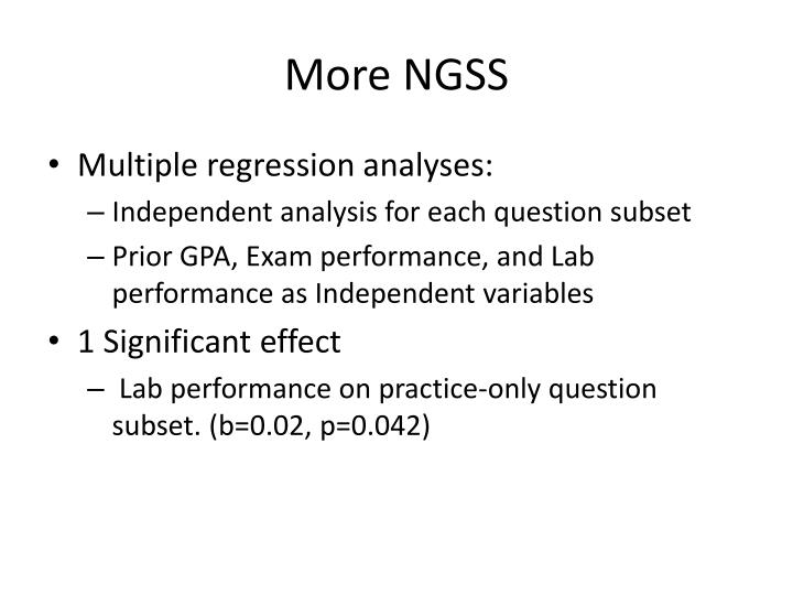 More NGSS