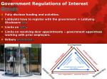 government regulations of interest groups