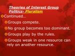 theories of interest group politics pluralism1