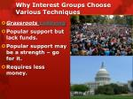 why interest groups choose various techniques2