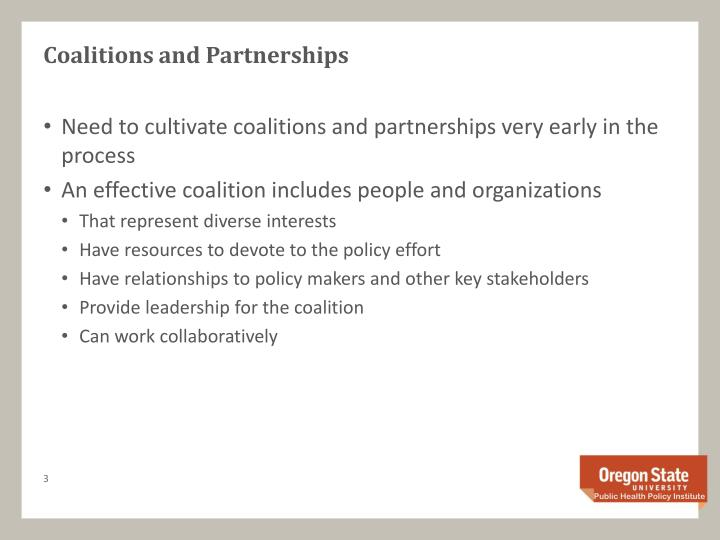 Coalitions and Partnerships