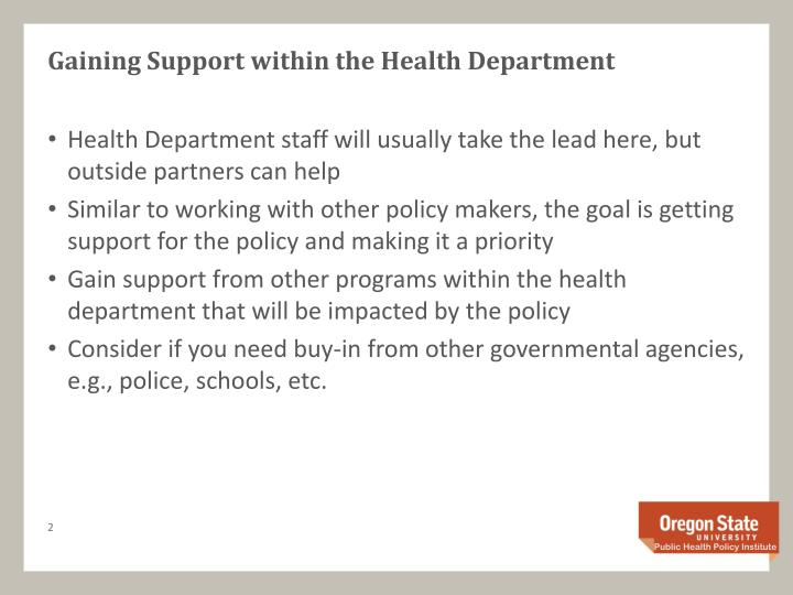 Gaining support within the health department