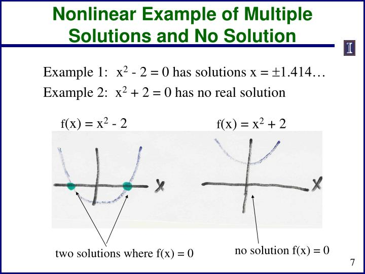 Nonlinear Example of Multiple Solutions and No Solution