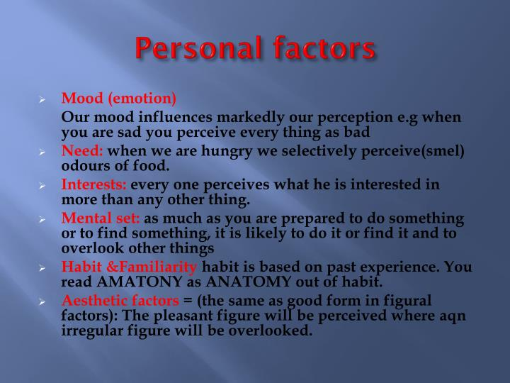 Personal factors