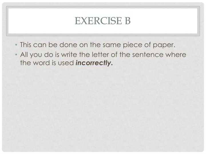 Exercise B