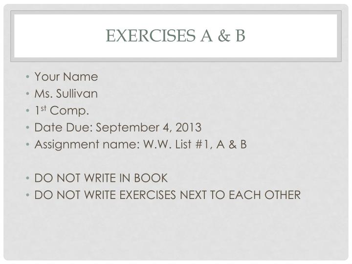 Exercises a &