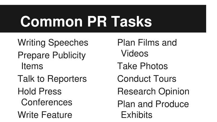 Common PR Tasks