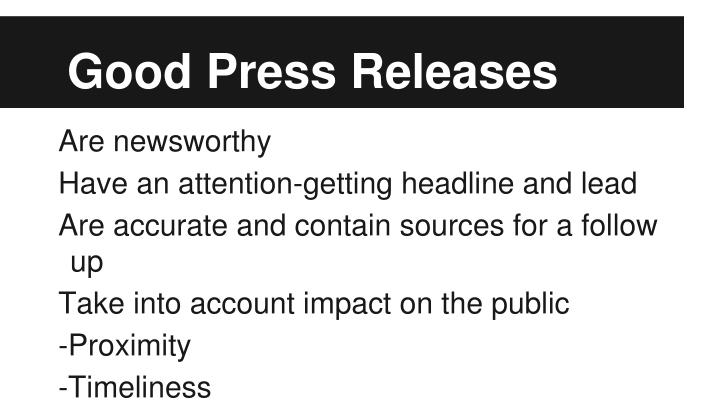 Good Press Releases