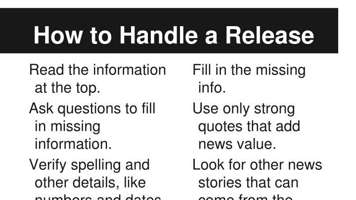 How to Handle a Release