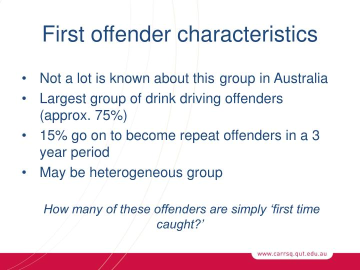 First offender characteristics
