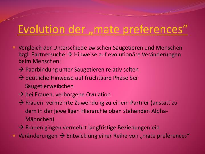 "Evolution der ""mate preferences"""