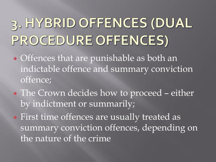 Offences that are punishable as both an indictable offence and summary conviction offence;