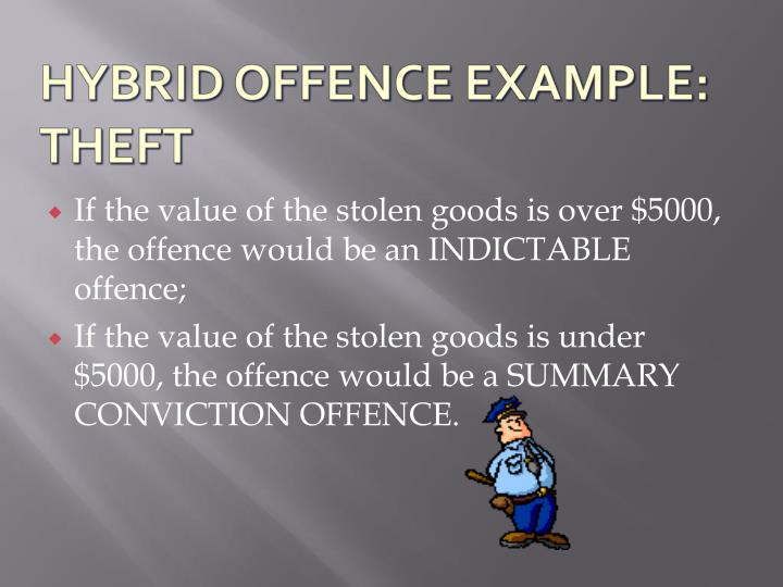 If the value of the stolen goods is over $5000, the offence would be an INDICTABLE offence;