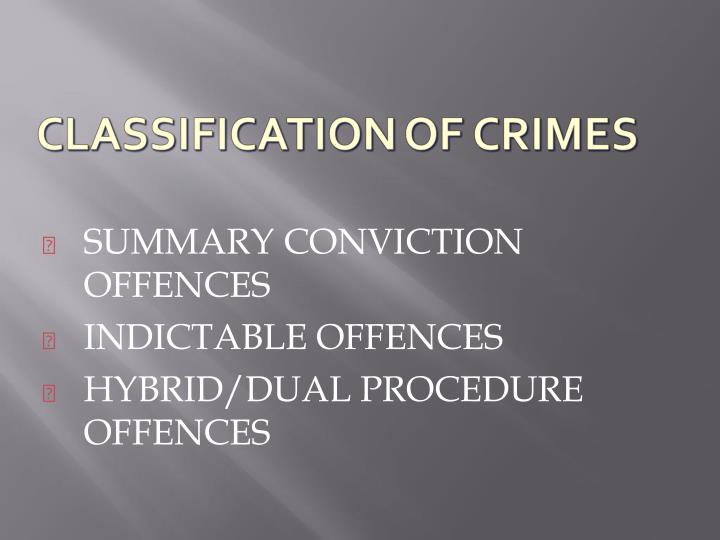 SUMMARY CONVICTION OFFENCES